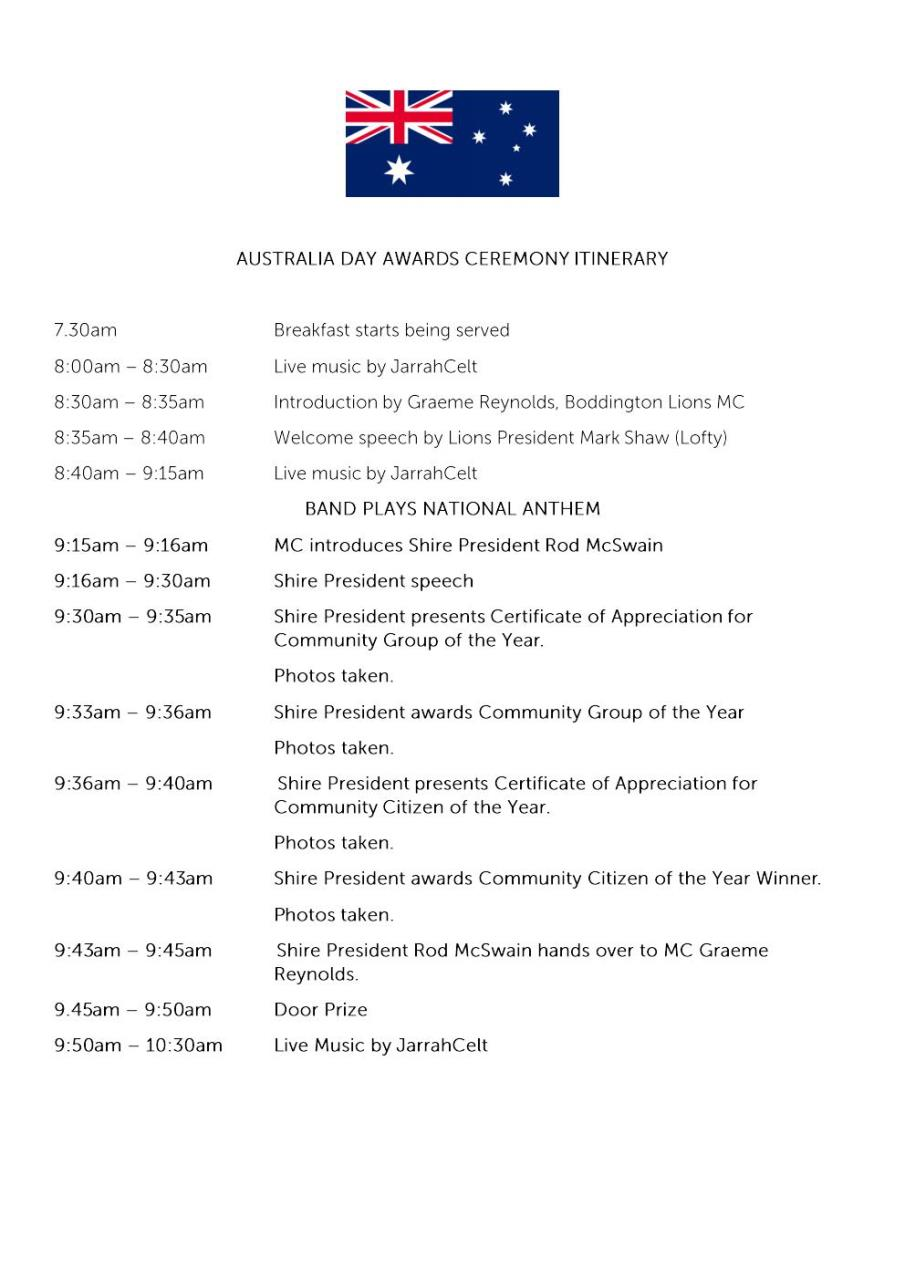 ITINERARY - 2020 AUSTRALIA DAY BREAKFAST AND AWARDS