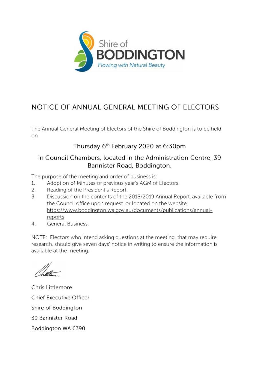 NOTICE OF ANNUAL GENERAL MEETING OF ELECTORS