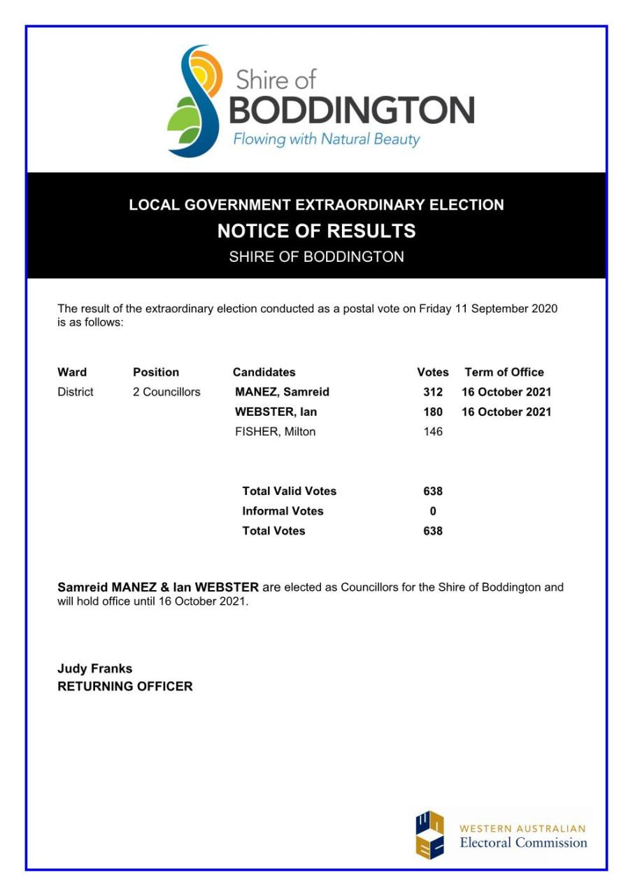 ELECTION RESULTS NOTICE