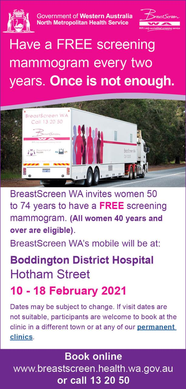 BREASTSCREEN WA VISIT TO BODDINGTON