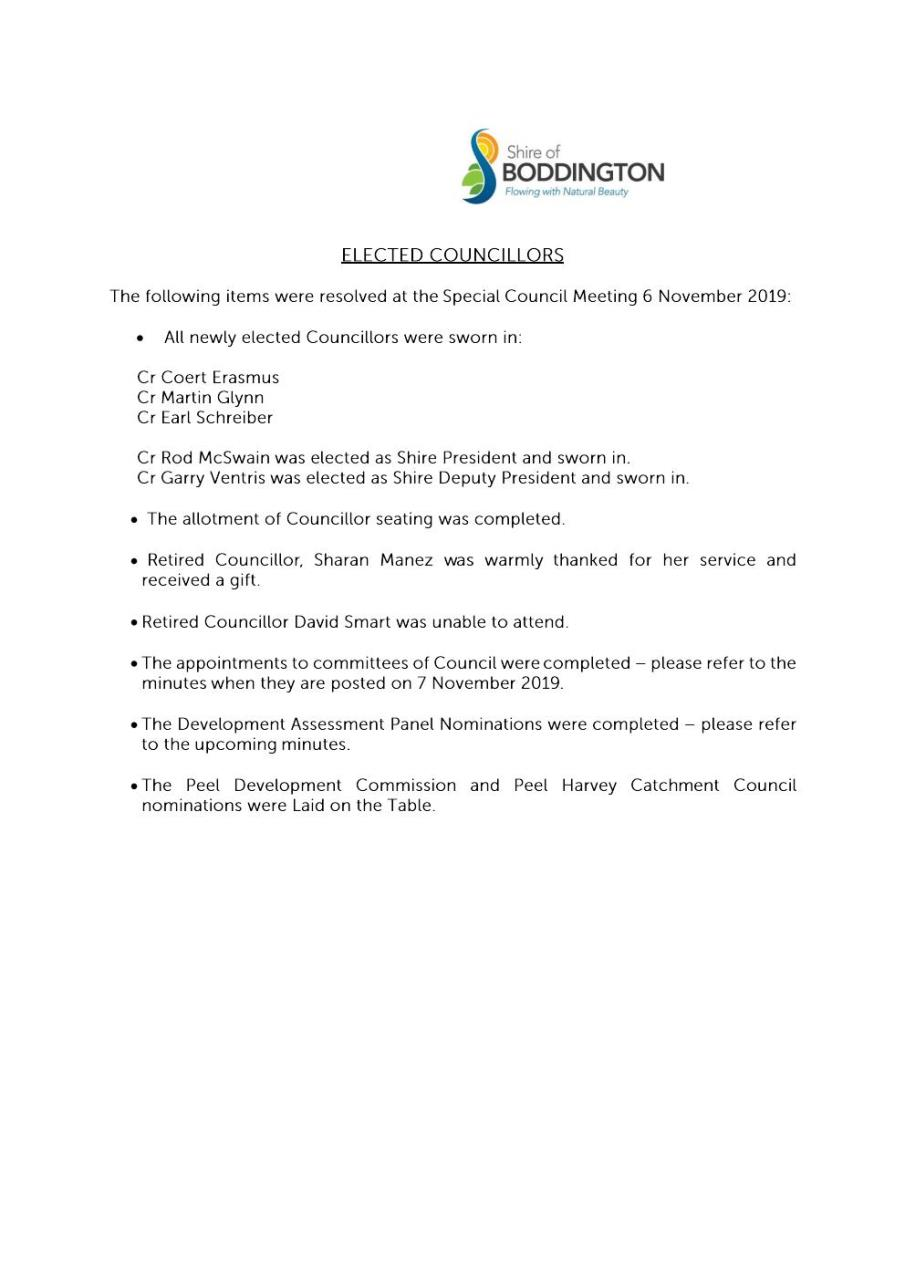 SPECIAL MEETING OF COUNCIL 6 NOVEMBER 2019