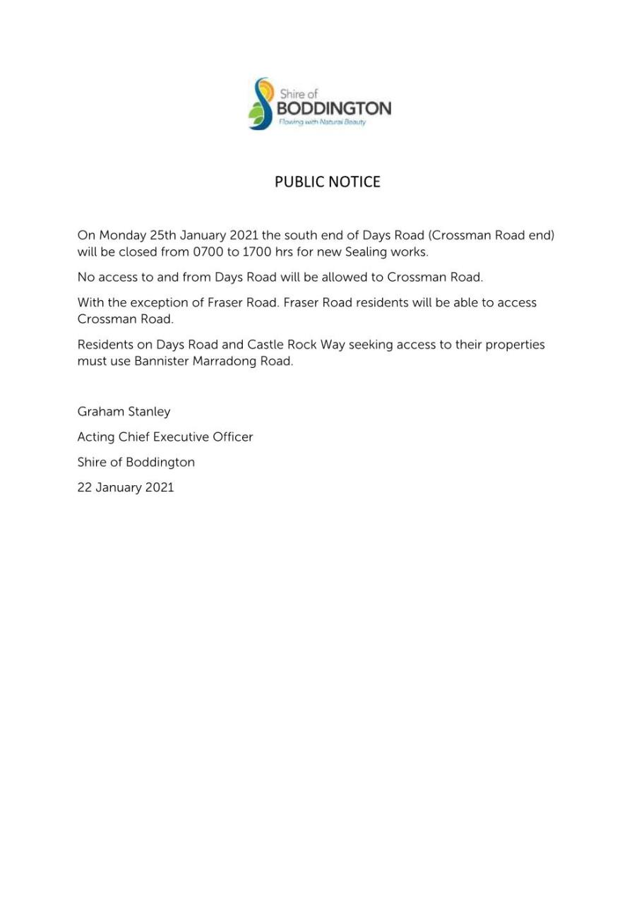 PUBLIC NOTICE - DAYS ROAD