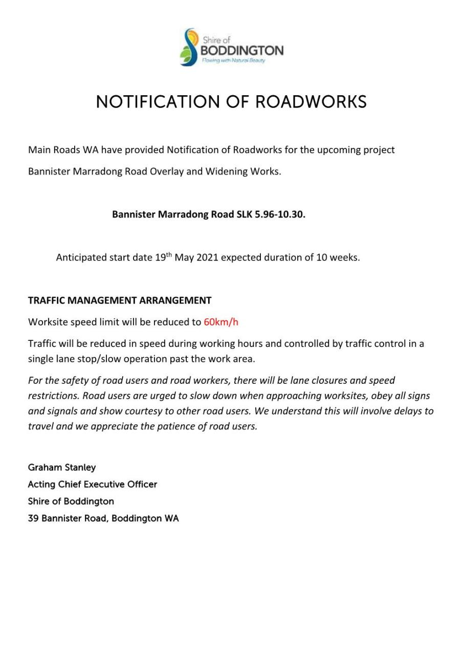 PUBLIC NOTICE OF ROADWORKS BANNISTER MARRADONG ROAD