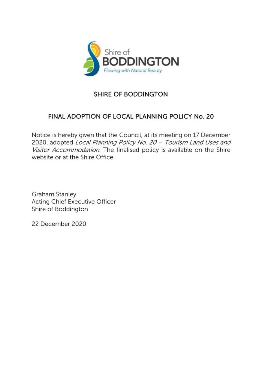 FINAL ADOPTION OF LOCAL PLANNING POLICY 20 - TOURISM, LAND USES & VISITOR ACCOMMODATION