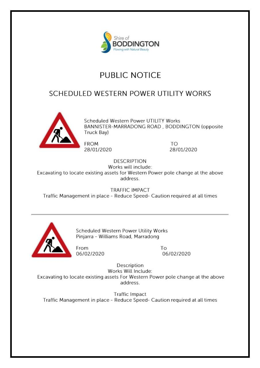 PUBLIC NOTICE- WESTERN POWER UTILITY WORKS