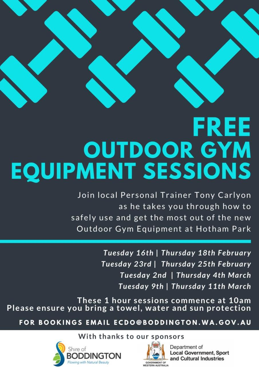 FREE OUTDOOR GYM EQUIPMENT SESSIONS