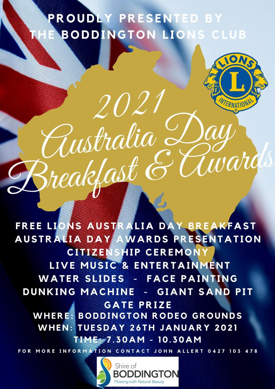 BODDINGTON LIONS CLUB AUSTRALIA DAY BREAKFAST & AWARDS