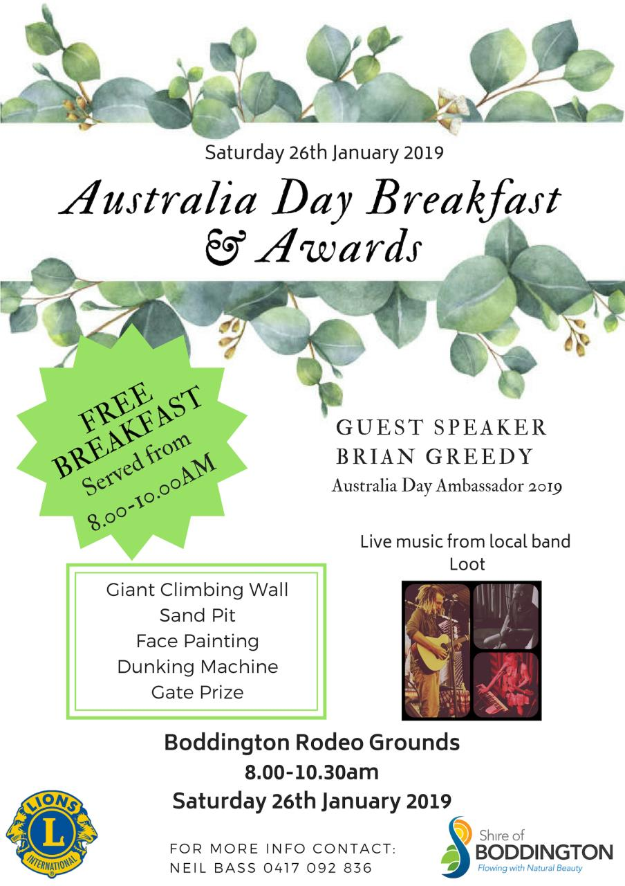 AUSTRALIA DAY CELEBRATION BREAKFAST & AWARDS